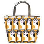 Cute Cat Hand Orange Bucket Bags Front