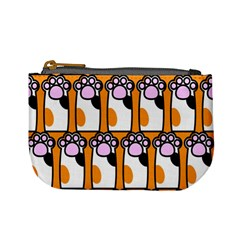 Cute Cat Hand Orange Mini Coin Purses by AnjaniArt