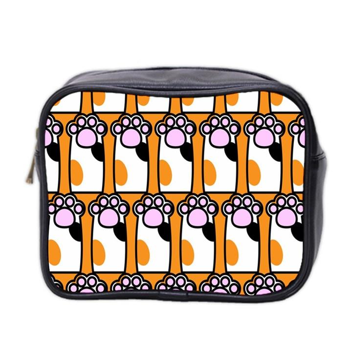 Cute Cat Hand Orange Mini Toiletries Bag 2-Side