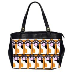 Cute Cat Hand Orange Office Handbags (2 Sides)