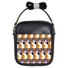 Cute Cat Hand Orange Girls Sling Bags