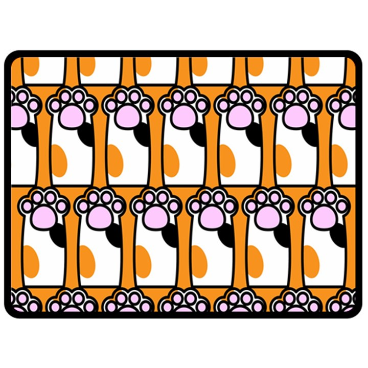 Cute Cat Hand Orange Fleece Blanket (Large)