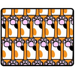 Cute Cat Hand Orange Fleece Blanket (medium)