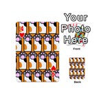 Cute Cat Hand Orange Playing Cards 54 (Mini)  Front - Heart4