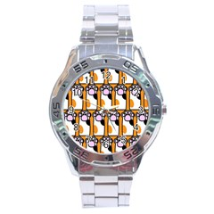 Cute Cat Hand Orange Stainless Steel Analogue Watch