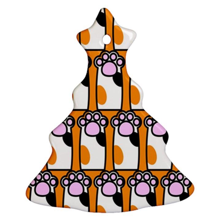 Cute Cat Hand Orange Ornament (Christmas Tree)