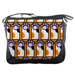 Cute Cat Hand Orange Messenger Bags Front