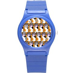 Cute Cat Hand Orange Round Plastic Sport Watch (S)