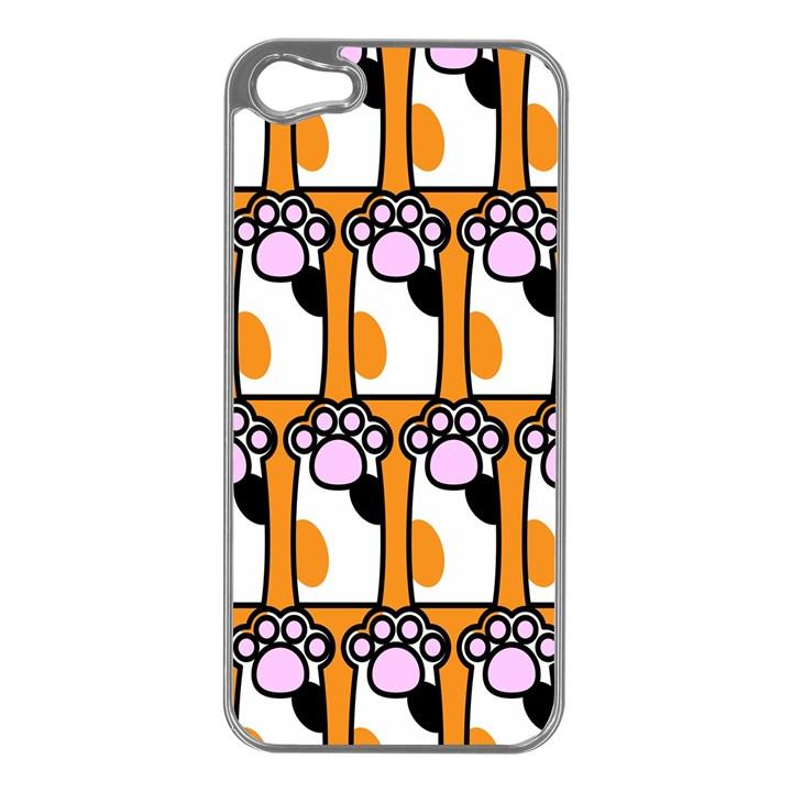 Cute Cat Hand Orange Apple iPhone 5 Case (Silver)