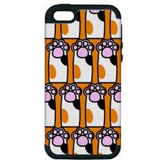 Cute Cat Hand Orange Apple Iphone 5 Hardshell Case (pc+silicone) by AnjaniArt
