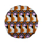 Cute Cat Hand Orange Standard 15  Premium Round Cushions Front
