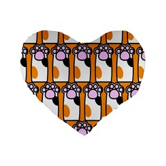 Cute Cat Hand Orange Standard 16  Premium Heart Shape Cushions