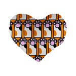 Cute Cat Hand Orange Standard 16  Premium Heart Shape Cushions Front
