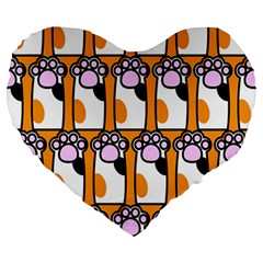 Cute Cat Hand Orange Large 19  Premium Heart Shape Cushions
