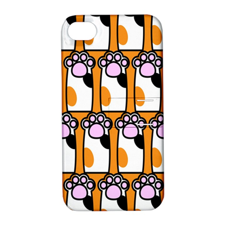 Cute Cat Hand Orange Apple iPhone 4/4S Hardshell Case with Stand