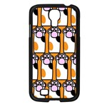 Cute Cat Hand Orange Samsung Galaxy S4 I9500/ I9505 Case (Black) Front