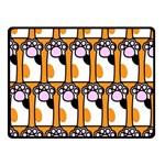 Cute Cat Hand Orange Double Sided Fleece Blanket (Small)  45 x34 Blanket Back