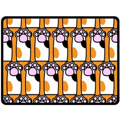 Cute Cat Hand Orange Double Sided Fleece Blanket (large)  by AnjaniArt