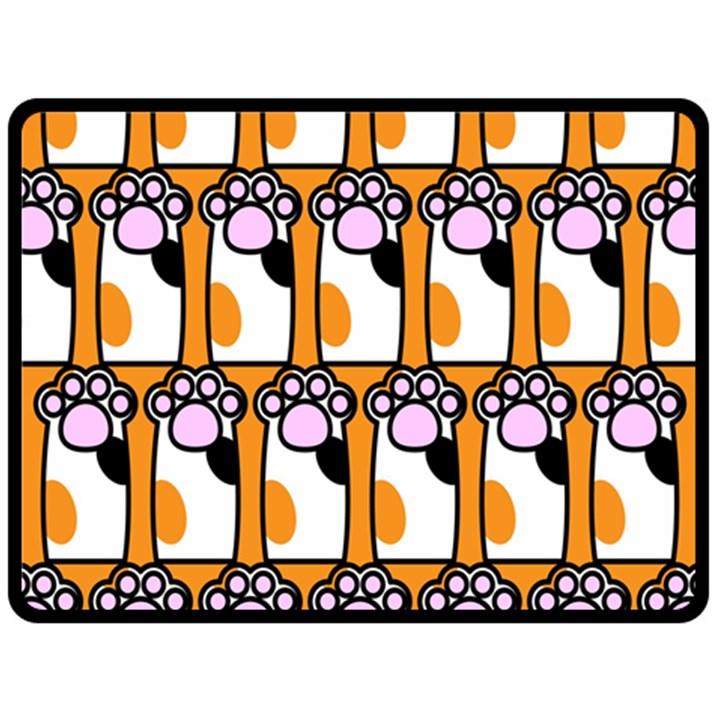 Cute Cat Hand Orange Double Sided Fleece Blanket (Large)