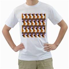 Cute Cat Hand Orange Men s T-Shirt (White)