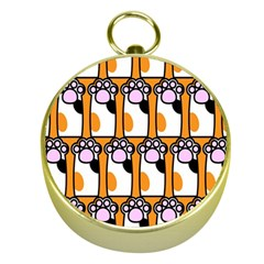 Cute Cat Hand Orange Gold Compasses by AnjaniArt
