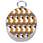 Cute Cat Hand Orange Silver Compasses Front