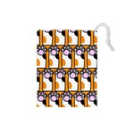 Cute Cat Hand Orange Drawstring Pouches (Small)  Front