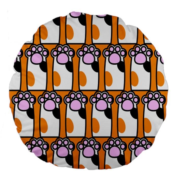 Cute Cat Hand Orange Large 18  Premium Flano Round Cushions