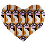 Cute Cat Hand Orange Large 19  Premium Flano Heart Shape Cushions Front