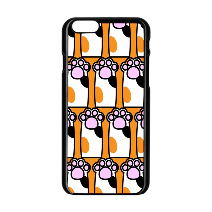 Cute Cat Hand Orange Apple iPhone 6/6S Black Enamel Case