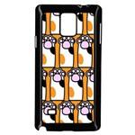 Cute Cat Hand Orange Samsung Galaxy Note 4 Case (Black) Front