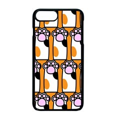 Cute Cat Hand Orange Apple Iphone 7 Plus Seamless Case (black)