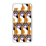 Cute Cat Hand Orange Apple iPhone 7 Plus White Seamless Case Front