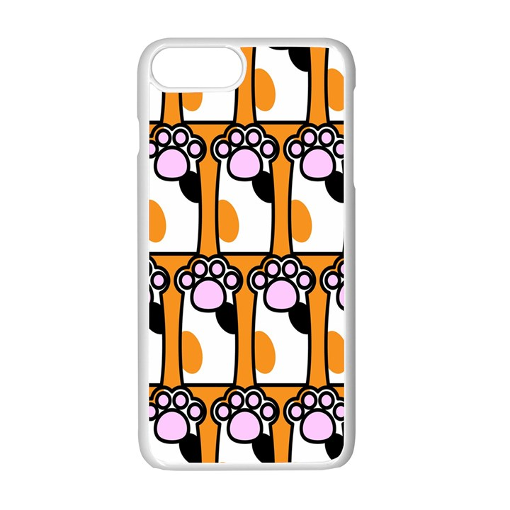 Cute Cat Hand Orange Apple iPhone 7 Plus White Seamless Case