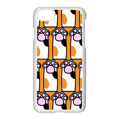 Cute Cat Hand Orange Apple Iphone 7 Seamless Case (white) by AnjaniArt