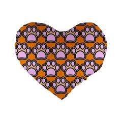 Dog Foot Orange Soles Feet Standard 16  Premium Flano Heart Shape Cushions by AnjaniArt
