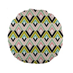 Chevron Pink Green Copy Standard 15  Premium Flano Round Cushions by AnjaniArt