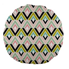 Chevron Pink Green Copy Large 18  Premium Flano Round Cushions by AnjaniArt