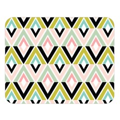 Chevron Pink Green Copy Double Sided Flano Blanket (large)  by AnjaniArt