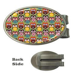 Eye Owl Colorful Cute Animals Bird Copy Money Clips (oval)  by AnjaniArt