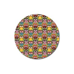 Eye Owl Colorful Cute Animals Bird Copy Magnet 3  (round) by AnjaniArt
