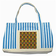 Eye Owl Colorful Cute Animals Bird Copy Striped Blue Tote Bag by AnjaniArt