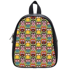 Eye Owl Colorful Cute Animals Bird Copy School Bags (small)  by AnjaniArt