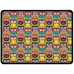 Eye Owl Colorful Cute Animals Bird Copy Fleece Blanket (large)  by AnjaniArt