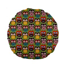 Eye Owl Colorful Cute Animals Bird Copy Standard 15  Premium Round Cushions by AnjaniArt