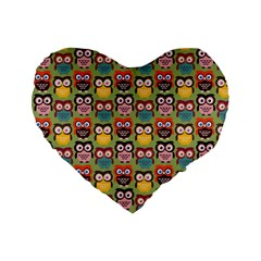 Eye Owl Colorful Cute Animals Bird Copy Standard 16  Premium Flano Heart Shape Cushions by AnjaniArt