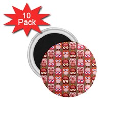 Eye Owl Colorfull Pink Orange Brown Copy 1 75  Magnets (10 Pack)  by AnjaniArt