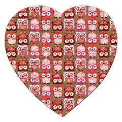 Eye Owl Colorfull Pink Orange Brown Copy Jigsaw Puzzle (heart) by AnjaniArt