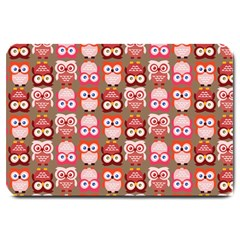 Eye Owl Colorfull Pink Orange Brown Copy Large Doormat  by AnjaniArt