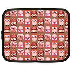 Eye Owl Colorfull Pink Orange Brown Copy Netbook Case (large) by AnjaniArt